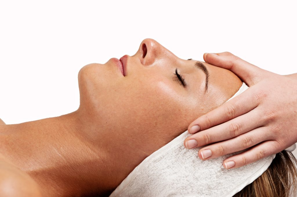 beauty treatment, profile with hands, skin deep, facial